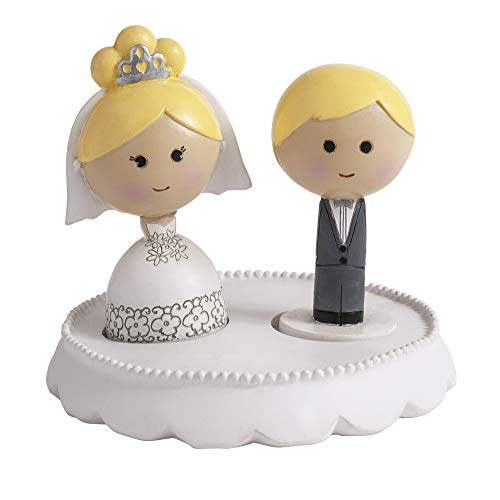 Ivy Lane Design AM1054 Kokeshi Cake Top Set: Base, Bride, and Groom Wedding Topper, One Size, Blonde Hair/Fair Skin by Ivy Lane Design