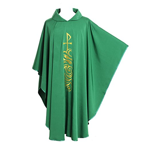 Blessume Vert Catholique Église Chasuble Prêtre Robe Clegy Vêtements