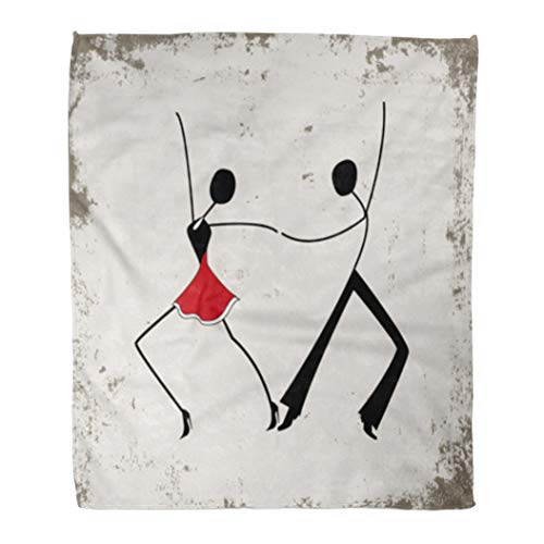 Reading Girl Stick Figure - Emvency Flannel Throw Blanket Red Modern Dancing Man and Woman Stick Figures Dance Party Wine 60x80 Inch Lightweight Cozy Plush Fluffy Warm Fuzzy Soft