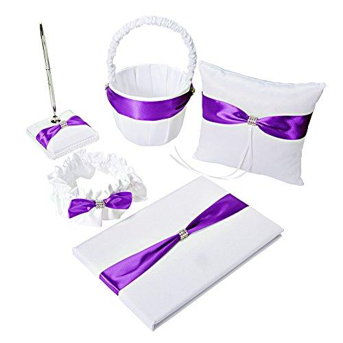 ETbotu Western Wedding Supplies Claw Chain Set (5 Sets) Purple Series -Guest Book,Pen Set,Flower Girl Basket,Ring Bearer Pillow,Diamante Crystal Rhinestone Buckle,Wedding Party from ETbotu