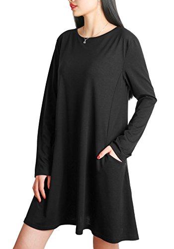 Nero Laterale Camicetta DSUK Cotone Swing Girocollo Lunga Tshirt Manica Vestito Donna Top Elegante Tasca di xqqaZHn1w