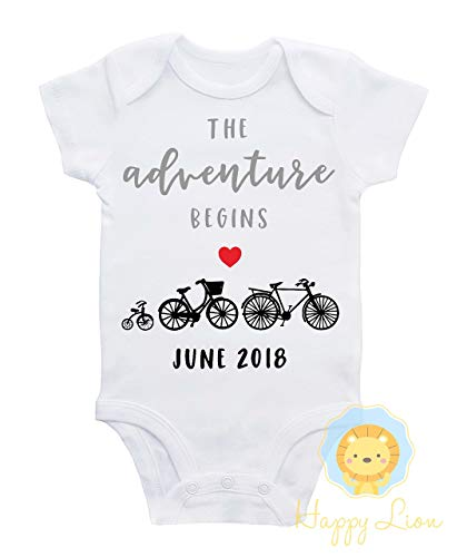 - Happy Lion Clothing - Pregnancy Announcement baby shirt, Adventure Begins, Bicycle Pregnancy announcement, Bicycle baby shower, Custom due date announcement