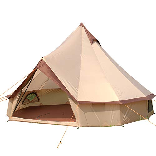 LBAFS Outdoor Camping Tent Rainproof Yurt Big Tents for Self-Driving Beach Leisure Vacation 8-10 Person,A