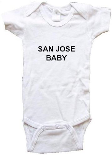 SAN JOSE BABY - City Series - White Baby One Piece Bodysuit / Baby T-shirt - size Small (6-12M)]()
