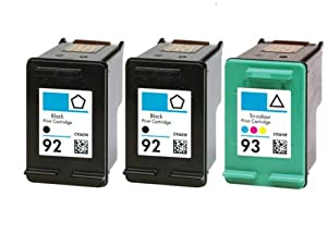 HouseOfToners Remanufactured Ink Cartridge Replacement for HP 92 & 93 (2 Black & 1 Color, 3-Pack)