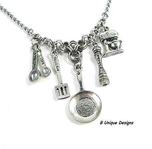 (Cooking Charm Necklace Kitchen Utensils Gadgets Saute Pan, Measuring Spoons, Pepper Mill, Mixer Personalized Chef Jewelry Stainless Steel Chain Mail)