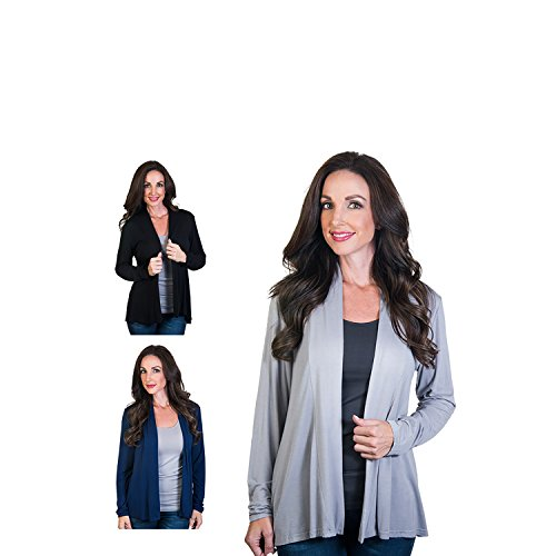 Agiato Women's Modern Long Sleeve Basic Cardigan 3-Pack Multicolor