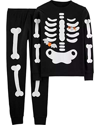 Carters Halloween Pajamas Skeleton (Carter's Boys' Glow-in-The-Dark Halloween Pajamas (4T,)