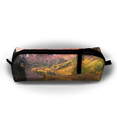 EWFBVa Durable Zipper Stationery Bag Maroon Bells at Sunrise Big Capacity Pencil Case ()