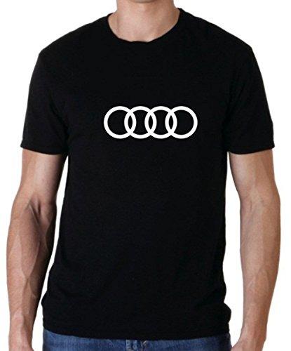 Uzair Audi Logo Hooded Sweatshirt Black and T-Shirt (Black T-Shirt, Large)