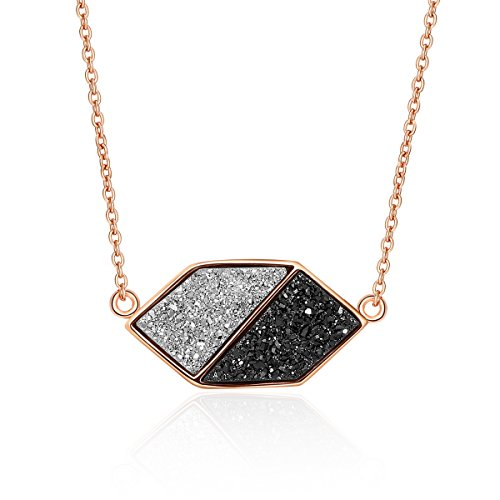Drusy Quartz Necklace (Drusy Quartz Yin&Yang Pendant Necklace with Rose Gold-Plated over Brass, 16