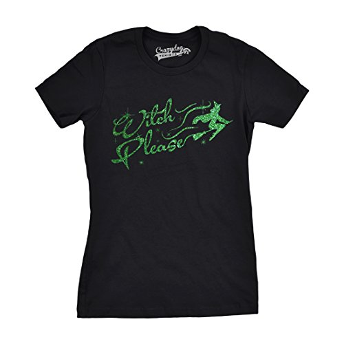 Womens Witch Please Tshirt Funny Halloween Trick Or Treat Glitter Ink Tee (Black) L ()
