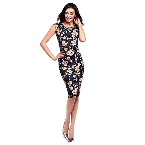 Womens Dresses,YKA Girl Short Sleeve Floral Formal Work Dress Evening Party Mini Skirt For Ladies (L, Navy)