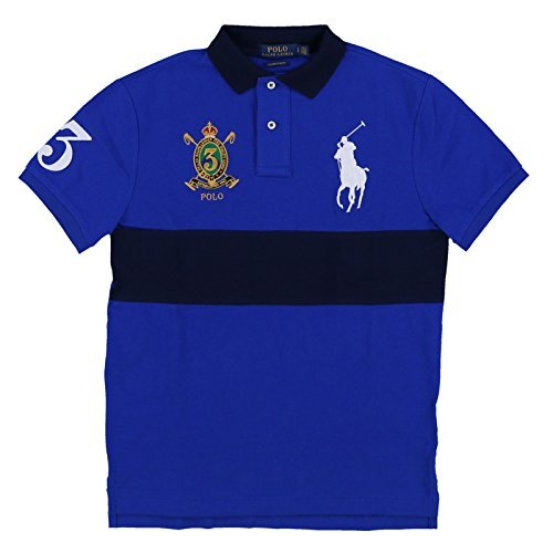 Polo Ralph Lauren Men's Big Pony Crest Custom Slim Fit Mesh Stripe Polo Shirt (Large, Sapphire Star/Navy) (Shirts Embroidered Signature)