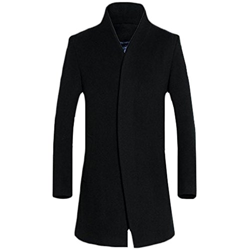 - WEEN CHARM Men's Wool French Coat Slim Fit Long Jacket Single Breasted Overcoat