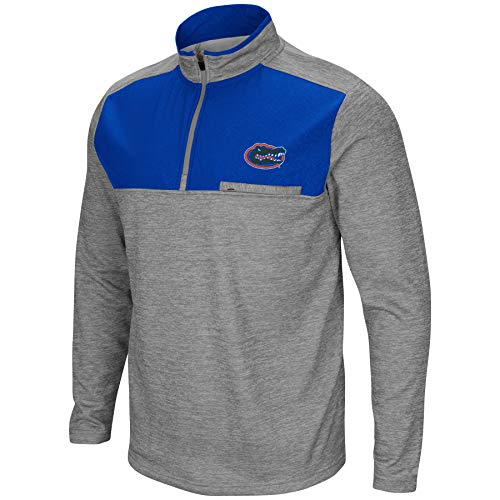 Colosseum NCAA Men's-Franchise Player- Poly Fleece 1/4 Zip Pullover-Heather Grey Twist-Florida Gators-Large