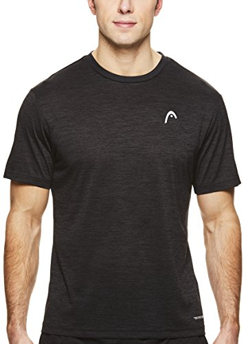 HEAD Men's Crewneck Gym Training & Workout T-Shirt - Short Sleeve Activewear Top - Spacedye Black Heather, - Active Run Tee