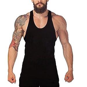 F.C Men's Tank Top Stringer Gym Shirt Vest (Black)