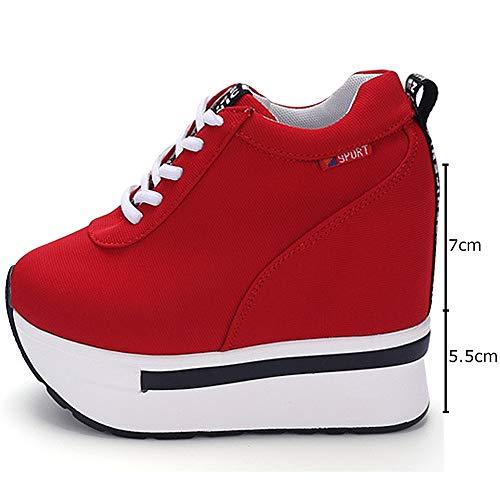 Plateforme Wealsex Rouge Femme Décontracté Sneakers Epaisse Semelle Chaussure Compensée Toile Montante Basket qrTxwart