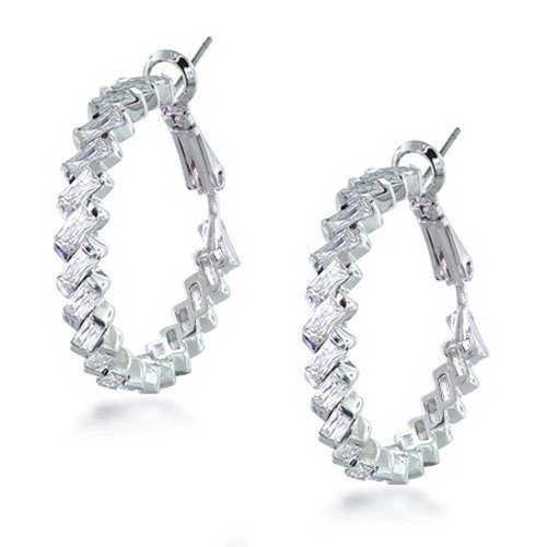Statement Prom Pageant Bridal Cubic Zirconia CZ Baguettes Large Hoop Earrings For Women Silver Plated Brass 1.2 Dia