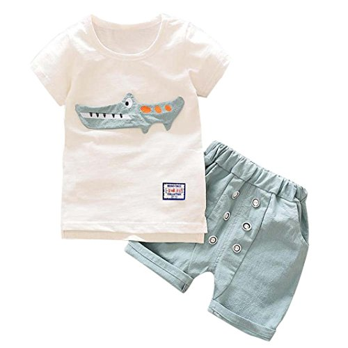 Willsa Baby Clothes, Toddler Boy Cartoon Crocodile Printing T-Shirt Tops+Button Shorts Pants Sets (5T, Light Blue) Crocodile Short