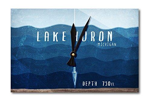 Lake Huron  Michigan   Lake Essentials   Lake Depth  Acrylic Wall Clock