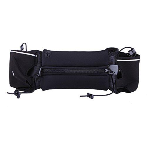 Finance Plan Sport Running Fitness Waist Belt Bag Fitness Running Jogging Marathon Pouch (Black)