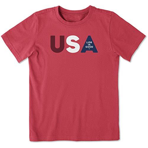 Life is Good Boys Crusher Tee USA Life is Good, Americana Red, Large