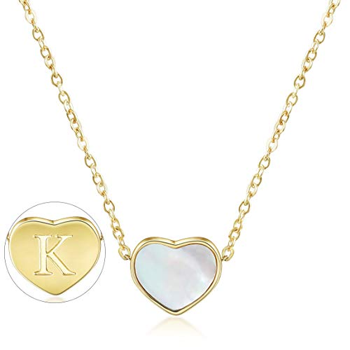 CIUNOFOR Initial Heart Necklace Gold Plated Shell Dainty Necklace Engraved Letter K Necklace with Adjustable Chain Necklace for Women -