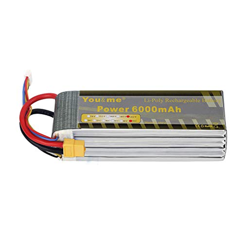 Youme 6s 22.2v Lipo Battery Pack 6000mAh 50-100C XT60 Plug Connector for DJI Airplane Drone EDF RC Car Boat Align 700L 7.2 Yak 54 T-REX Mikado Logo(6.10 x 1.9 x 2.20 in,1.9lb )