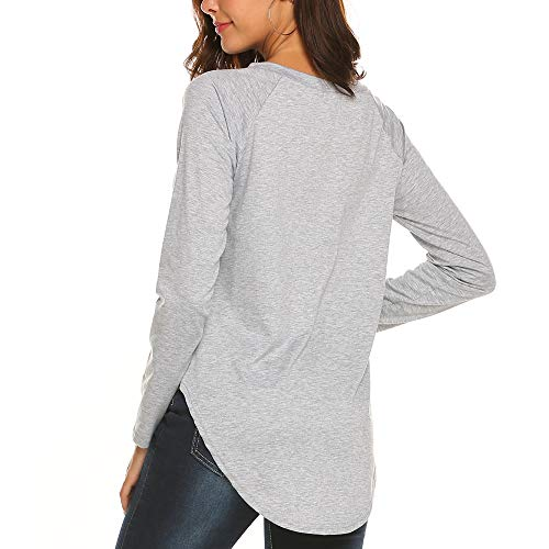 BLUETIME Women's Comfy T Shirts Lightweight Tunic Tops Pullover with Side Cutouts (XL, Grey) - Curved Cut Out Pull