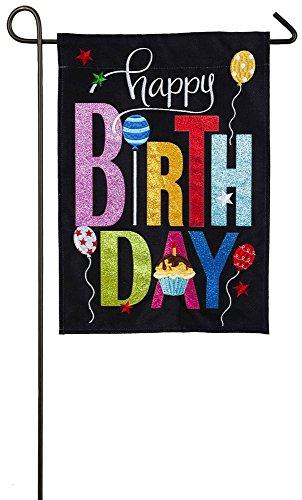 Evergreen Happy Birthday Cupcake Burlap Garden Flag, 12.5 x 18 inches ()