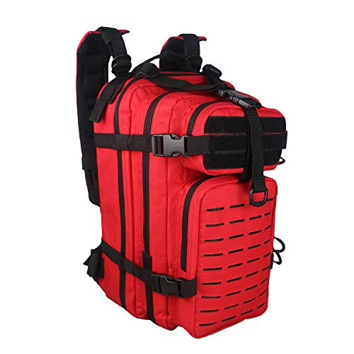 Fox Tactical Small Assault Backpack Military Tactical Backpack Molle System Bag Outdoor Hiking Backpack Hunting Camping Hiking Backpack Laptop Backpack Waterproof Backpack Rucksack (RED)