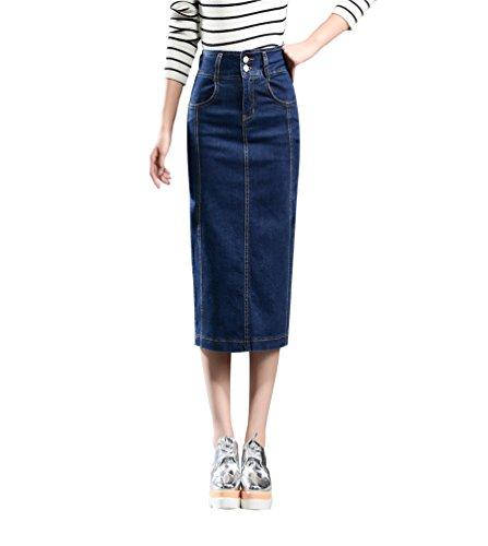 YiLianDa Femmes Jupe Avec Poches L'Automne lgante Taille Haute Denim Jupe Amincissante Svelte Crayon Jupes Bleu