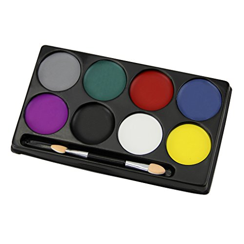 Face Painting Kit 8 Flash Colors Professional Face Body Paint Oil Cosmetic Case Makeup Painting Palette Set Great for Halloween, Easter, Theme Parties, Cosplay, Fancy Dress Ball, Stage Performance - Men's Beauty Pageant Costume