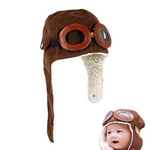 OPCC Super Cool Baby Infant Kid Soft Warmer Winter Hat/ Pilot Aviator Cap/Fleece Warmer Earflap Beanie,Kid's Halloween Costume Accessory, Great Christams Gift For Your Child!1PCS Opcc Sticky Notes included - Aviator Pilot