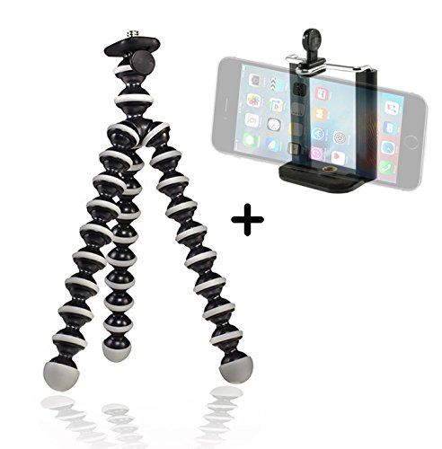 Best Flexible Tripod for Cell iphone & Small Camera Lightweight Mini Tripods, Bendable Compact Simple to Mount Easy to Use Adjustable Adapter, Create Better Selfies & Videos Now!