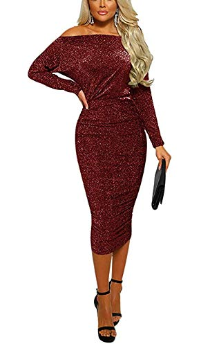 Women Semi Formal Dresses -Off The Shoulder Diamond Lady Ruched Midi Evening Party Dress Red