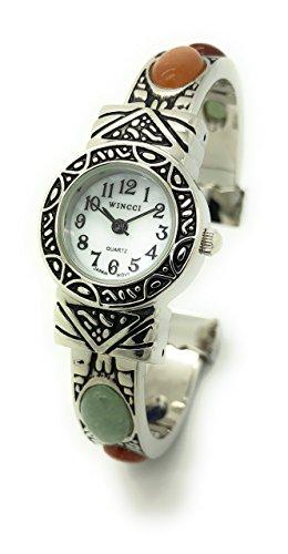 - Ladies Silver Metal Bangle Cuff Fashion Watch with Stones Pearl Dial Wincci (Multi-Color 1)