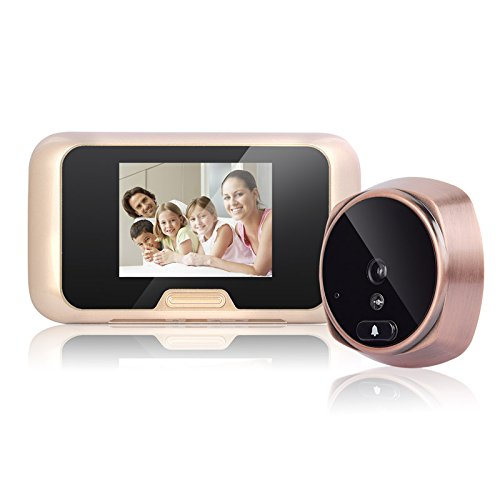 3.0 inch HD LCD Screen Smart Peephole Door Viewer Camera, Night Vision Monitor Doorbell with 120 Degree Wide Angle Peephole Viewer for Home Security(Gold) ()