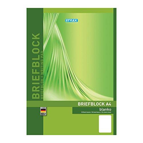 Stylex 40017 - Blocco di carta da lettere, formato DIN A4, 50 fogli, pagine bianche