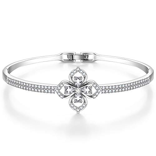 Menton Ezil Mixed Swarovski Crystal 18K White Gold Plated Women Bracelet, Vintage Clover Charm, Good Luck Bangle