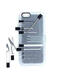 IN1 Multi Tool Case for iPhone 6 Plus - Retail Packaging - Clear with Black tools