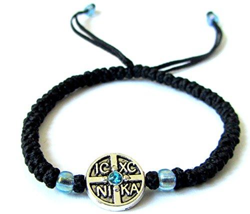 Iconsgr Handmade Christian Orthodox Komboskoini Prayer Rope Bracelet Black BR1 ()