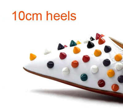 VIVIOO Shoes Shoes High 10cm Studs Women High Shallow white Pointed Lady Party Classical Party Heels Toe colorful Heels Spike Fashion Thin Rivets 7rwU7q