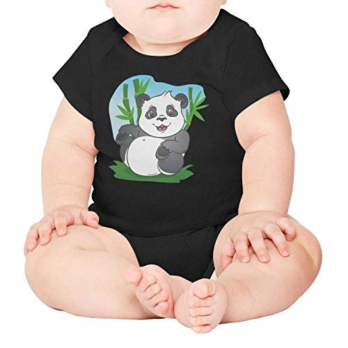 Price comparison product image PPLOPO Panda Bamboo Leaves Boys Girls Romper Bodysuit Cool Newborn Baby Onesies Black Short Sleeve Infant Bodysuit Baby Romper Jumpsuit