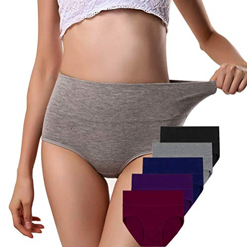 Annyison Women Panties 5 Pack, Soft Cotton Tummy Control Mid Waist Breathable Solid Color Briefs Panties for Women (5 Pack in 5 Drak Colors, ()
