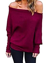 Women's Off One Shoulder Loose Casual Knit Sweater Fleece Slouchy Sweatshirt