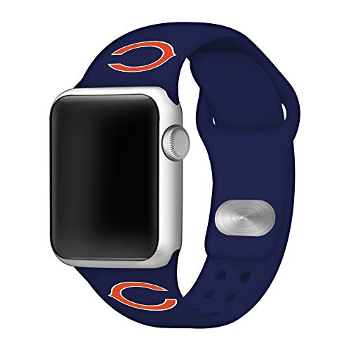 Game Time Chicago Bears Silicone Sport Band Compatible with Apple Watch - Band ONLY (38mm/40mm) (Accessories Chicago Bears)