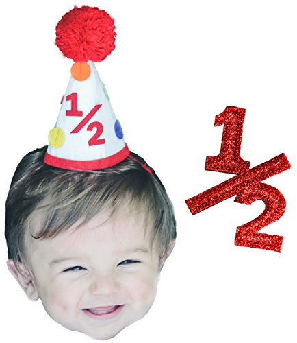 Half Year Boy Birthday 6 Months Colorful Pom Pom Party Hat and 1/2 Sign Set by Birdy Boutique